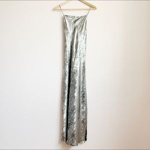 NWOT strappy metallic brushed silver midi dress